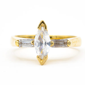14K Yellow Gold Marquise Cubic Zirconia Ring with Baguette Cubic Zirconia Accents