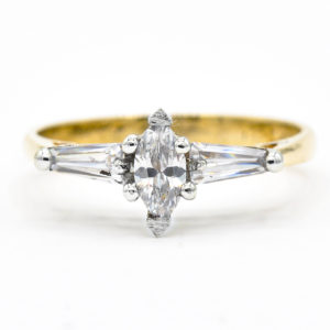 14K Yellow and White Gold 3-Stone Cubic Zirconia Ring