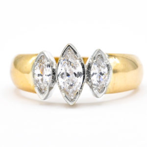 14K Yellow and White Gold 3-Stone Marquise Cut Cubic Zirconia Ring
