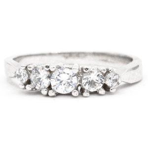 10K White Gold 5-Stone Cubic Zirconia Ring