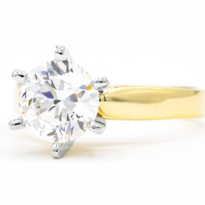 14K Yellow and White Gold Solitaire Round Cubic Zirconia Ring