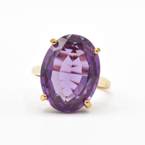 10K Yellow Gold Oval Dark Purple Cubic Zirconia Ring
