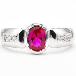 10K White Gold Synthetic Ruby Ring