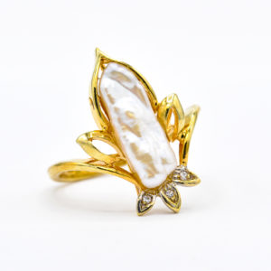 14K Yellow Gold Fancy Mabe Pearl Ring with Diamond Accents