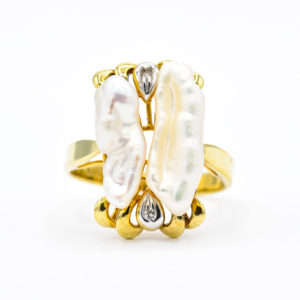 14K Yellow Gold Fancy Beva Pearl Ring with Diamond Accents