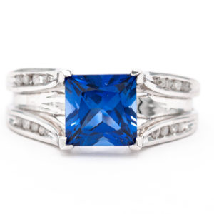10K White Gold Synthetic Sapphire Ring with Diamonds